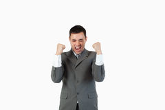 Successful businessman with the fists up Stock Photo