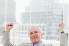 Successful businessman with the fists up Royalty Free Stock Photo