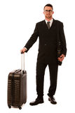 Successful businessman in formal suit and briefcase going on bus Stock Photos
