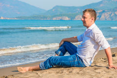 Successful businessman free vacation Royalty Free Stock Image