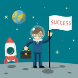 Successful businessman gets the moon Royalty Free Stock Image