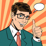 Successful businessman gives thumb  Stock Photo