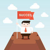 Successful businessman go to the top of mountain Royalty Free Stock Image