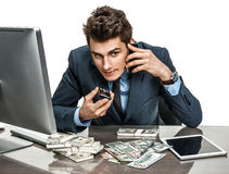 Successful businessman going to make a call by cell phone Stock Photo