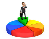 Successful  businessman on graph Stock Photo