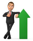 Successful businessman with a green arrow. 3d successful businessman with a green arrow Royalty Free Stock Photo