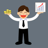Successful businessman. Hand holding money and graph Royalty Free Stock Photos
