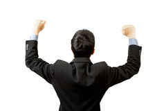 Successful businessman hands up Stock Photo
