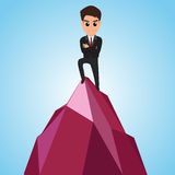 Successful businessman happy on the mountain Royalty Free Stock Photo