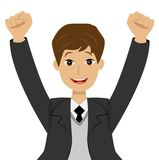 Successful businessman heaving up hands upwards, is glad to vict Royalty Free Stock Photography