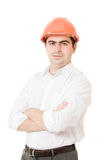 A successful businessman in the helmet. Stock Photography