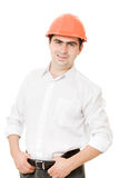 A successful businessman in the helmet. Royalty Free Stock Photo
