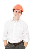 A successful businessman in the helmet. Royalty Free Stock Photography