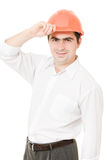 A successful businessman in the helmet. Stock Photos
