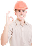 A successful businessman in the helmet Royalty Free Stock Photo