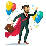 Successful Businessman Hero Vector. Business Achievement. First Office Worker. Market Competition Race. Isolated Flat. Successful Businessman Hero Vector Royalty Free Stock Photography