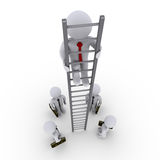 Successful businessman is higher on ladder. 3d businessman is high on ladder and others looking up at him Stock Photography