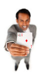 Successful businessman holding all the aces Royalty Free Stock Images