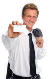 Successful businessman holding empty card Stock Images