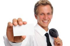 Successful businessman holding empty card Stock Image