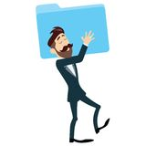Successful Businessman Holding Folder. Vector Illustration Stock Photos