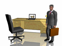 Successful Businessman illustration over white. Successful Businessman cartoon in his office in front of his desk, over white, isolated. 3D illustration render Royalty Free Stock Image