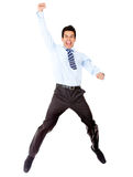 Successful businessman jumping Stock Photo