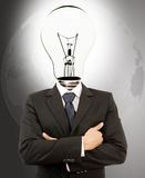 Successful Businessman with Lamp-Head. Royalty Free Stock Photography