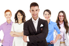 Successful businessman leading a group Stock Photography