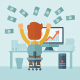 Successful Businessman with a Lot of Money. A successful businessman at the office with computer on his table raising his hands. Success concept. Vector flat Stock Photography