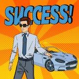 Successful Businessman. Man Holding a Car Key. Pop Art Stock Photography