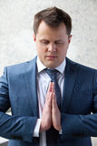 Successful businessman meditation Royalty Free Stock Photos