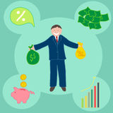 Successful businessman with money. Presentation graphics for office, marketing stock illustration