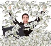 Successful businessman with money rain Stock Photos