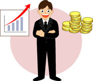 Successful businessman. Money vecter illustration Royalty Free Stock Photo
