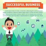 Successful businessman on the mountain Royalty Free Stock Image
