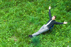 A successful businessman in the nature Stock Images