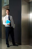 Successful Businessman Office Elevator Smiling Stock Photos