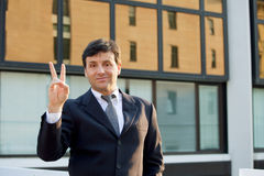 Successful businessman outdoors royalty free stock image