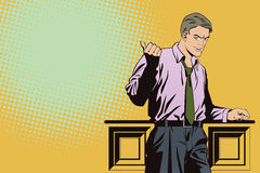 Successful businessman is pointing finger. Stock Photos