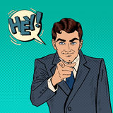 Successful Businessman Pointing Finger at You. Pop Art Stock Image