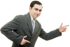 A successful businessman, points his finger Stock Images