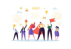 Successful Businessman with Prize. Business Success Teamwork Concept. Manager with Winning Trophy Cup. Leader Man. And Woman Celebrating Victory. Vector royalty free illustration