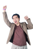 Successful businessman punching the air with his fists in air, s Royalty Free Stock Photos