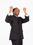 Successful businessman with raised arms Royalty Free Stock Photos
