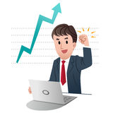 Successful businessman raising fist up in air Royalty Free Stock Photos