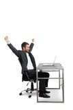 Successful businessman raising hands up Royalty Free Stock Image