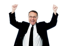 Successful businessman raising his arms Stock Images