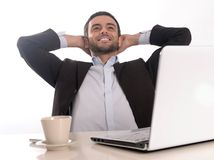 Successful Businessman relaxed and satisfied Royalty Free Stock Images