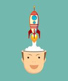 Successful businessman with rocket ship launching from his head. Royalty Free Stock Images